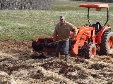 Shoveling manure